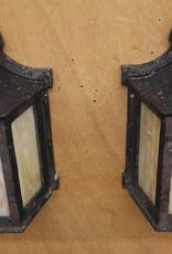 Pair of Vintage Flush Mount Outdoor Lantern Style Wall Sconces, Black Iron