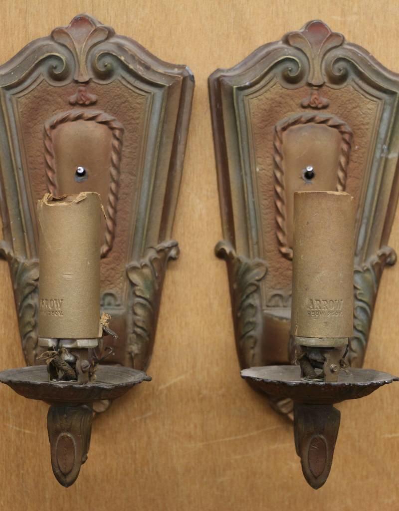 Pair of antique ArtKast wall sconces, model 408, cast pot metal