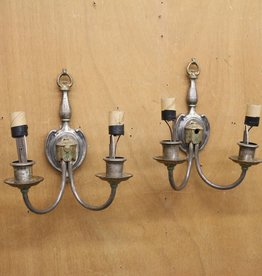 Pair of vintage sconces, cast pewter with hand-painted embellishments