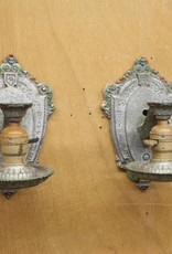 Pair of antique sconces, cast spelter with hand-painted embellishments