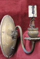 Single arm antique brass wall sconce
