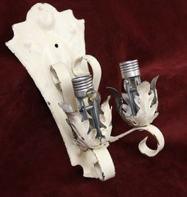 Vintage wall sconce, 2 light, brass and steel, painted white