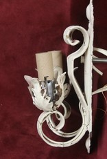 Vintage wall sconce, 2 light, tall scrollwork brass arms, steel backplate, painted white