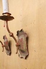 Pair of vintage steel single-socket wall sconces, painted red and gold