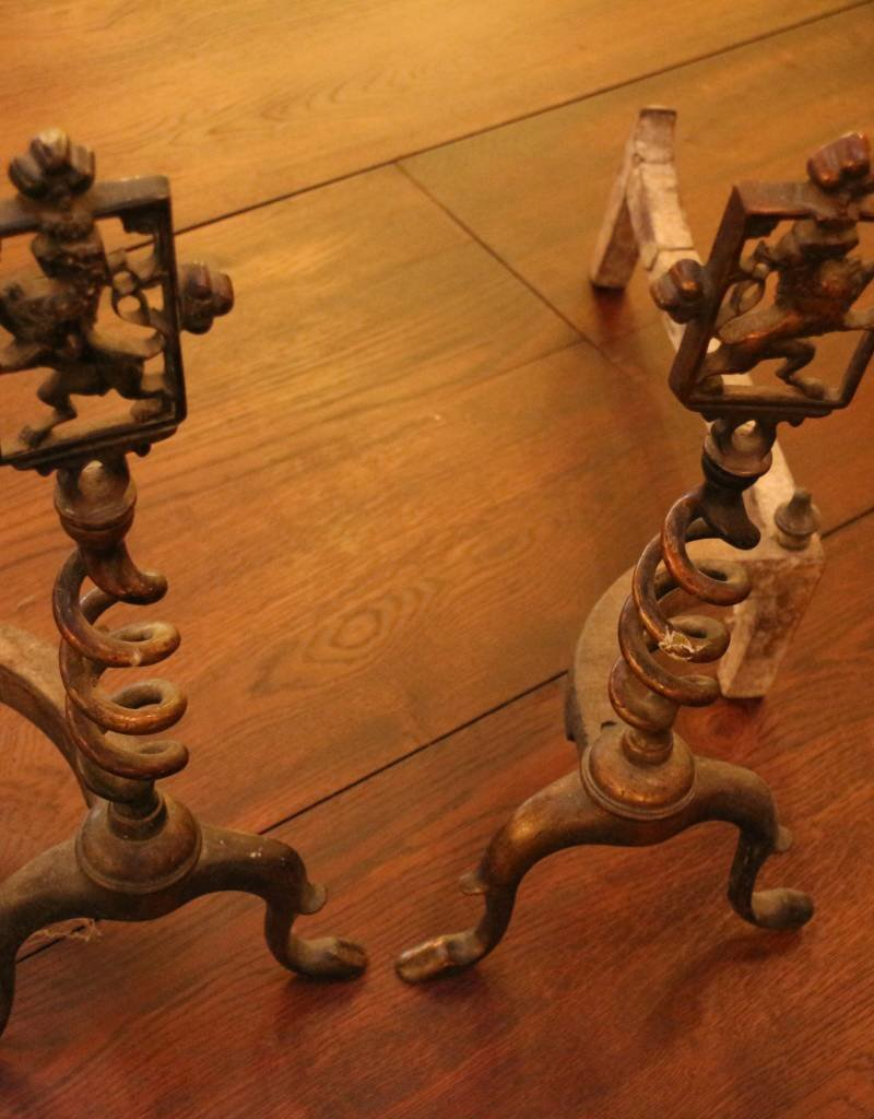 Vintage Brass Andirons with Rampant Lion Design
