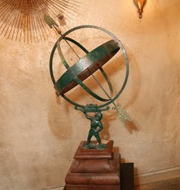 Antique Atlas Armillary Sundial and Wooden Pedestal Base