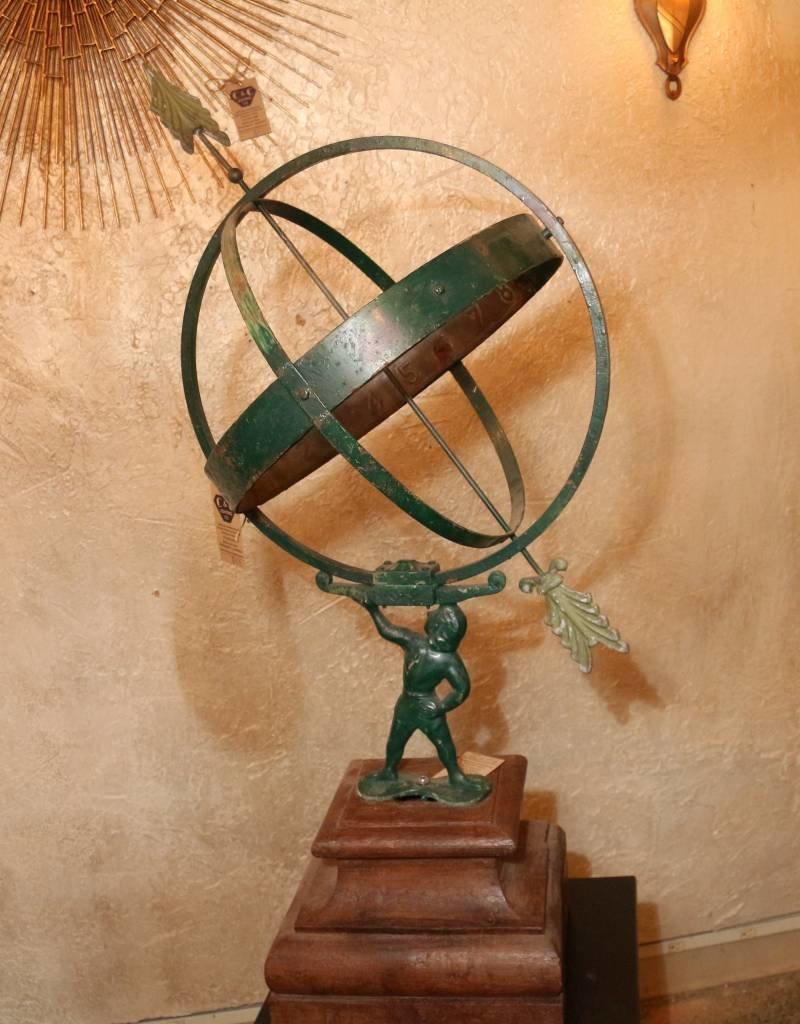 Antique Atlas Armillary Sundial and Wooden Pedestal Base