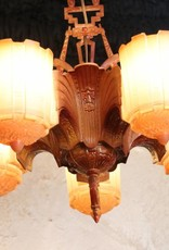 Art Deco Chandelier, Brown Enamelled Spelter, Floral Motif