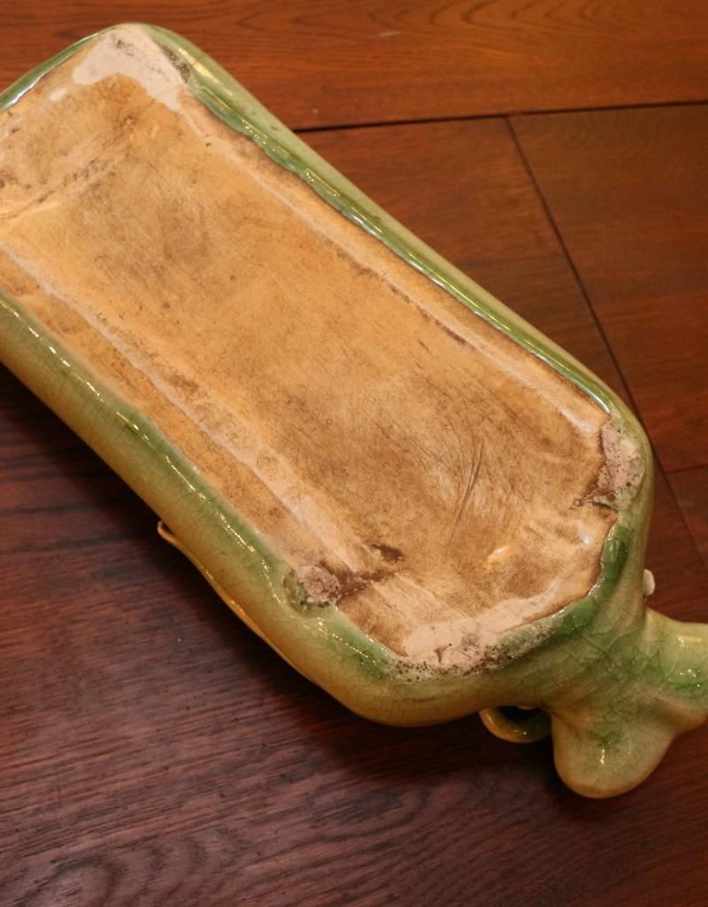 Antique Ceramic Incense Pillow, Jade Green