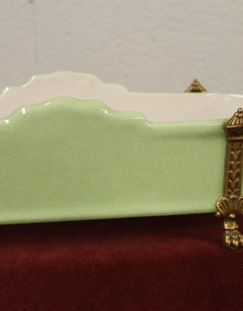 Small green antique ceramic jardiniere