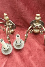 Pair of Vintage Williamsburg wall sconces with fish downspout motif in antique brass finish