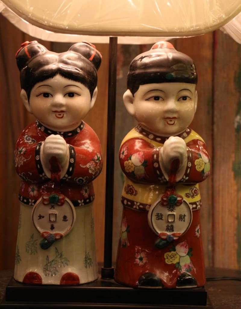 Vintage Asian boy and girl ceramic table lamp