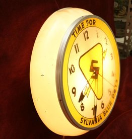 Vintage Sylvania Blue Dots Lighted Wall Clock