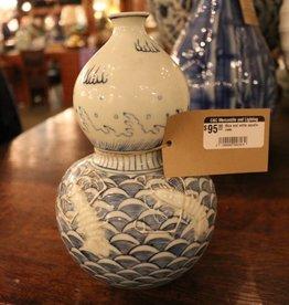 Blue and white ocean themed vase
