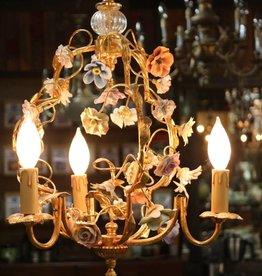 Chandelier, Handmade, Italian, Capodimonte Porcelain Flowers