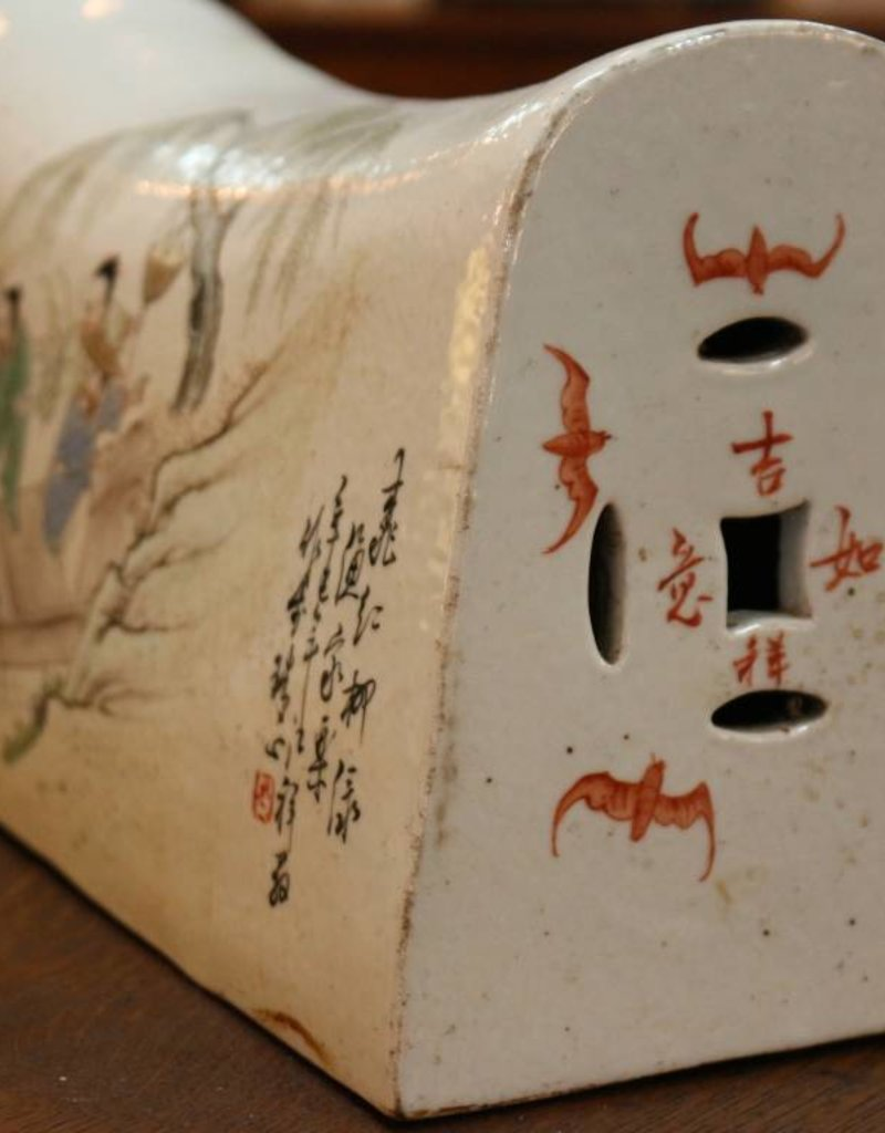 Vintage incense opium pillow, white ceramic