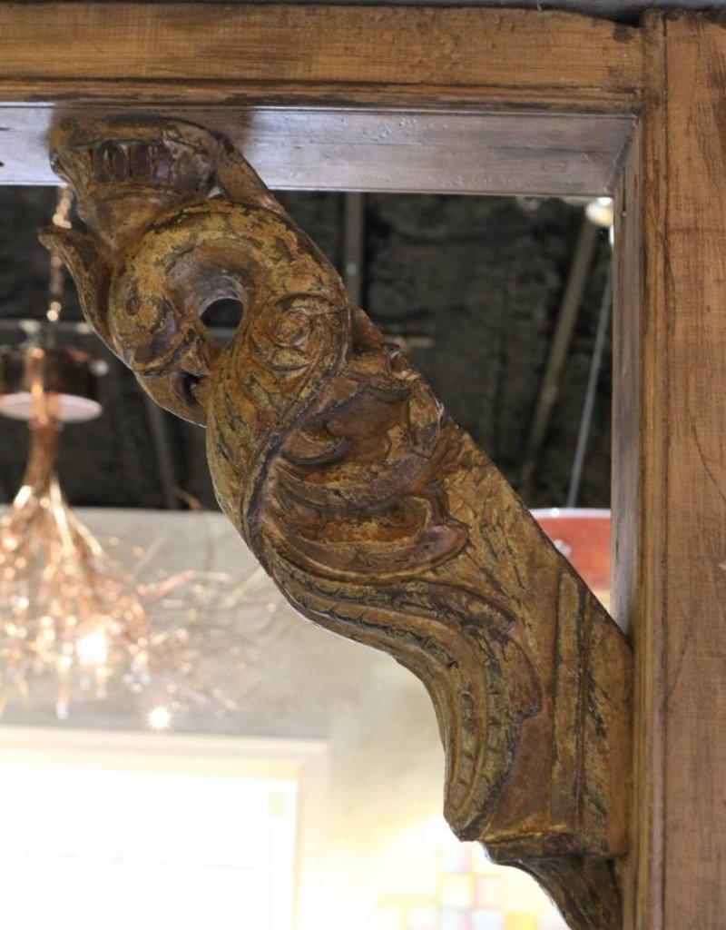 Pair of Bracket, Corbel, Carved Wood, Peacock