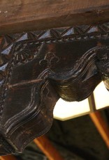 Pair of Corbels, Dark Brown Carved Wood, Bell Flower, Rosette, India