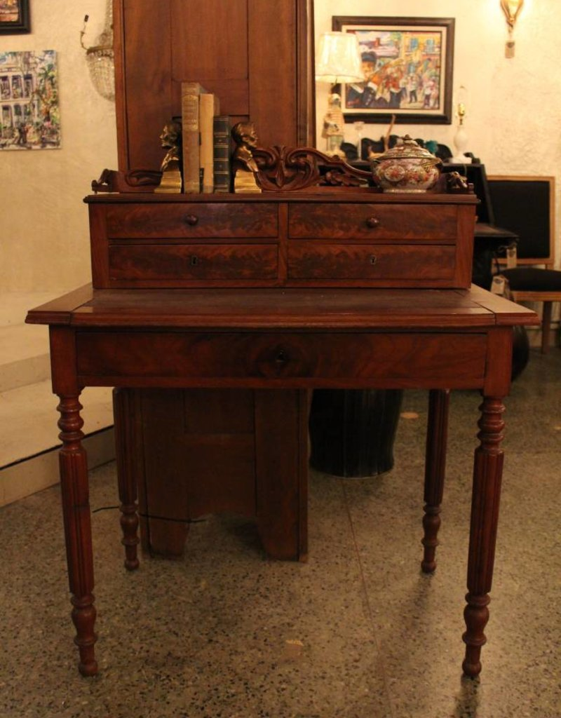 Small writing desk with ornate top