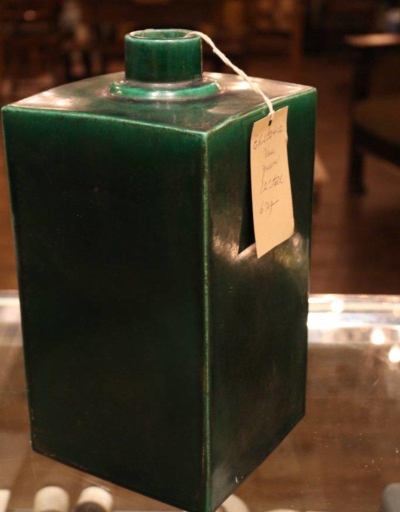 "Vase, 12"" Tall green"