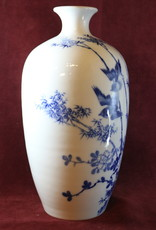 White ceramic vase, with two blue birds and bamboo,  1 of 2