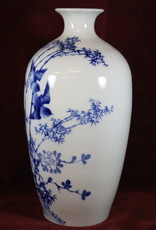 White ceramic vase, with two blue birds and bamboo,  2 of 2
