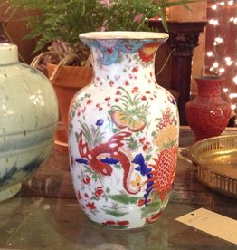 Vase, small, Oriental, red painted flowers