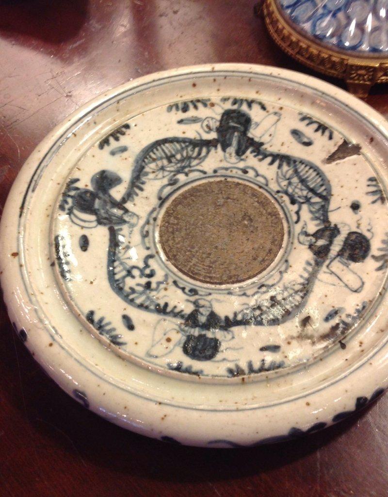 Pen Rest, ink trap, turn of century, ceramic, Oriental