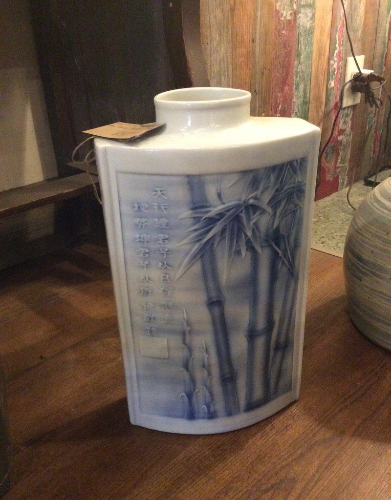 Vase, ceramic, rectangle, raised bamboo design