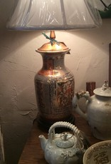 """Lamp, oriental, painted, gold and """"coral red"""", floral design"""