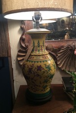 Lamp, ceramic, vase, yellow and green floral design