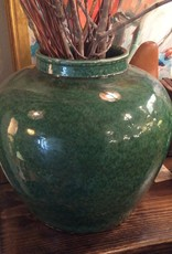 Vase, large, green, round, ceramic