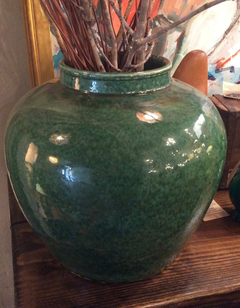 Vase, large, green, round, ceramic