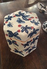 Jar, with lid, blue, white, red, floral, butterfly