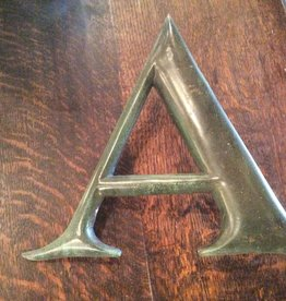 Letter, A, brass, vintage, 10 inch, architectural