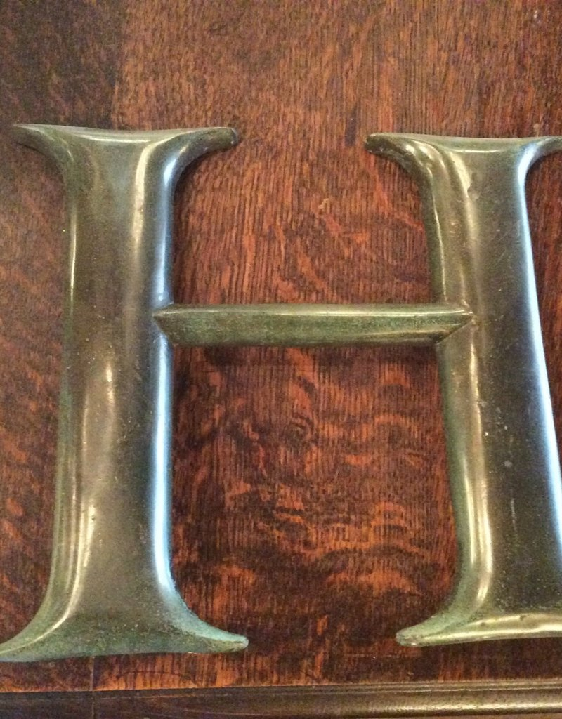 Letter, H, brass, vintage, 10 inch, architectural
