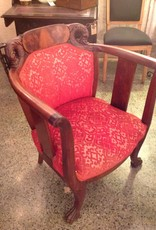 Chair, antique, barrel, carved, 1930s