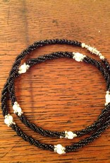 Necklace, Vintage, Black Beads and Fresh Water Pearl