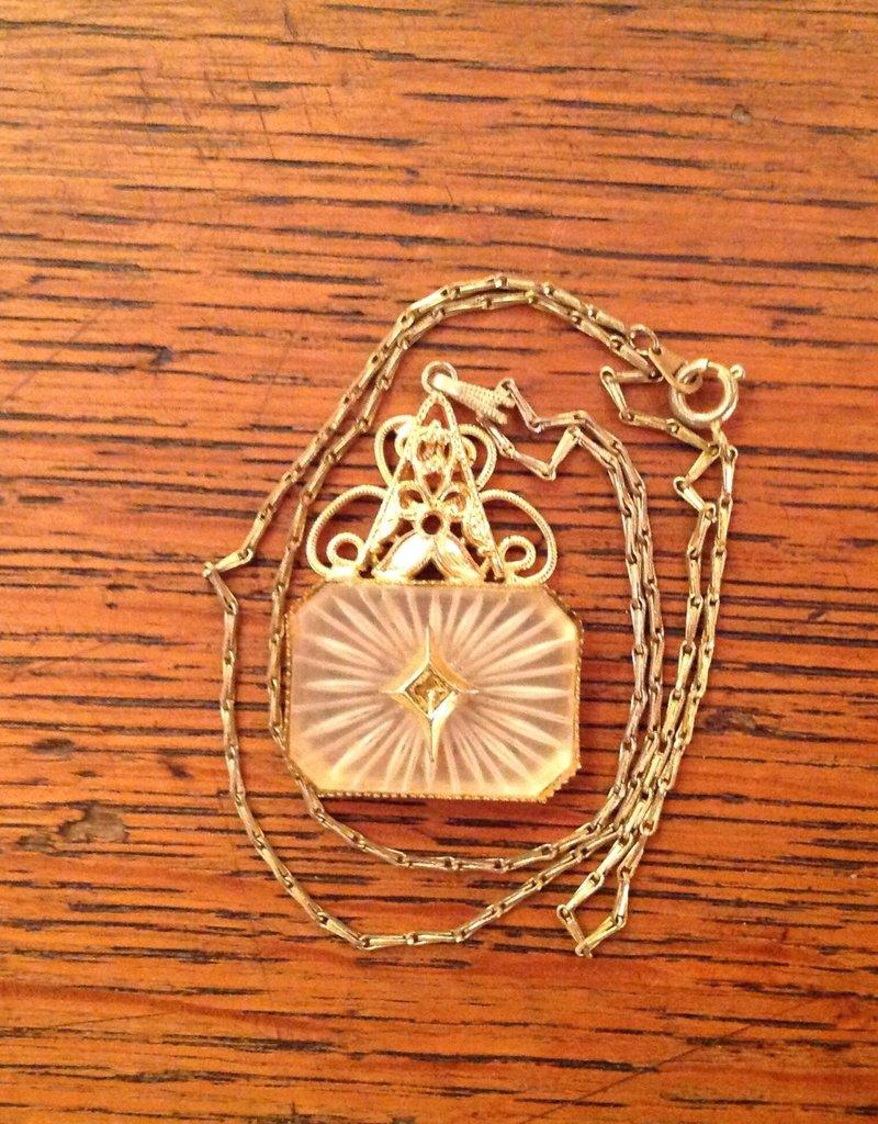 Necklace, vintage, Starburst design pendant