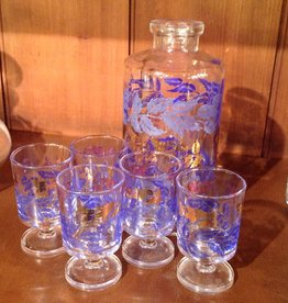 Blue Cordial Glasses and Bottle