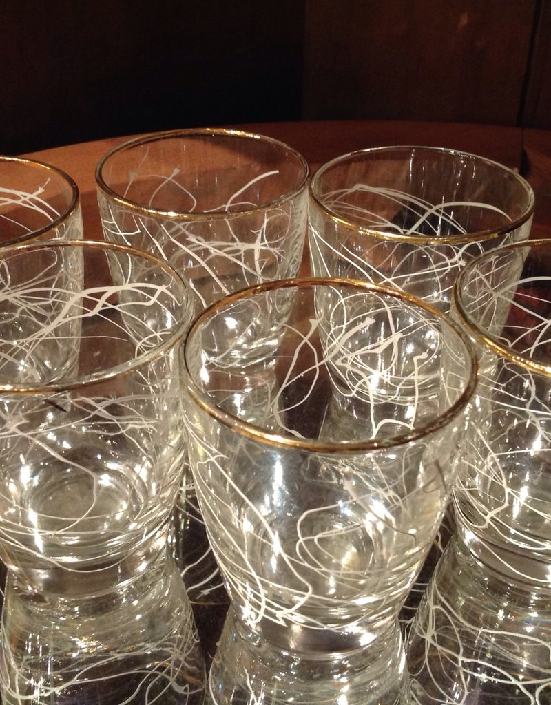 Glass Set, Mid-century Cordials, gold rimmed