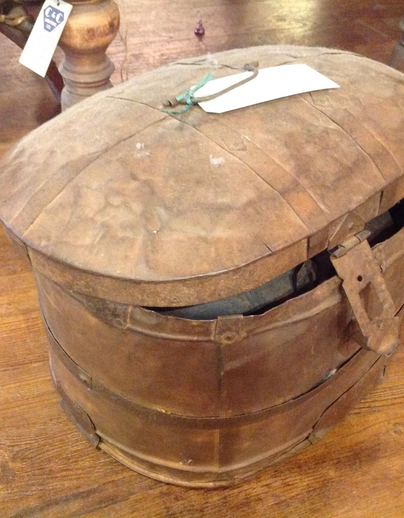 Set of TWO antique metal Hat Boxes