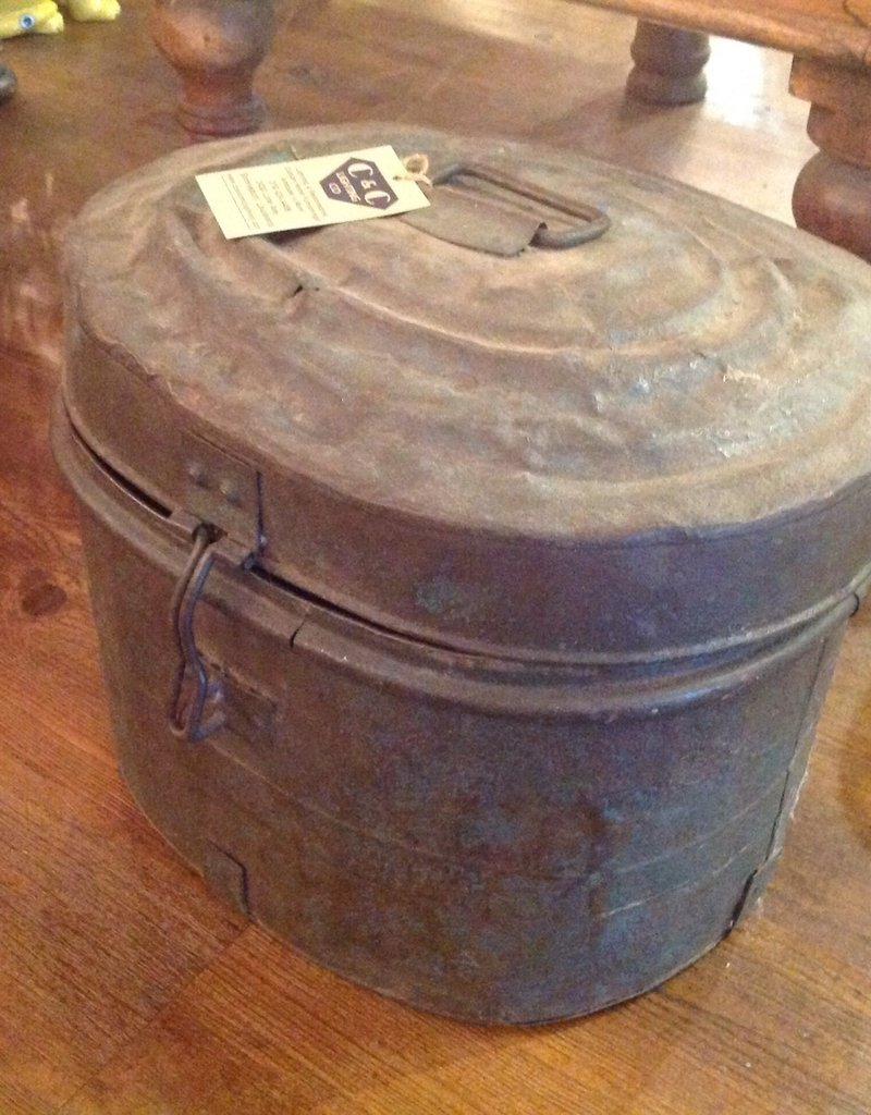 Hat Box, small, antique, metal