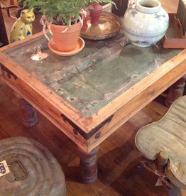 Table, coffee, wood, carved, glass top, reclaimed