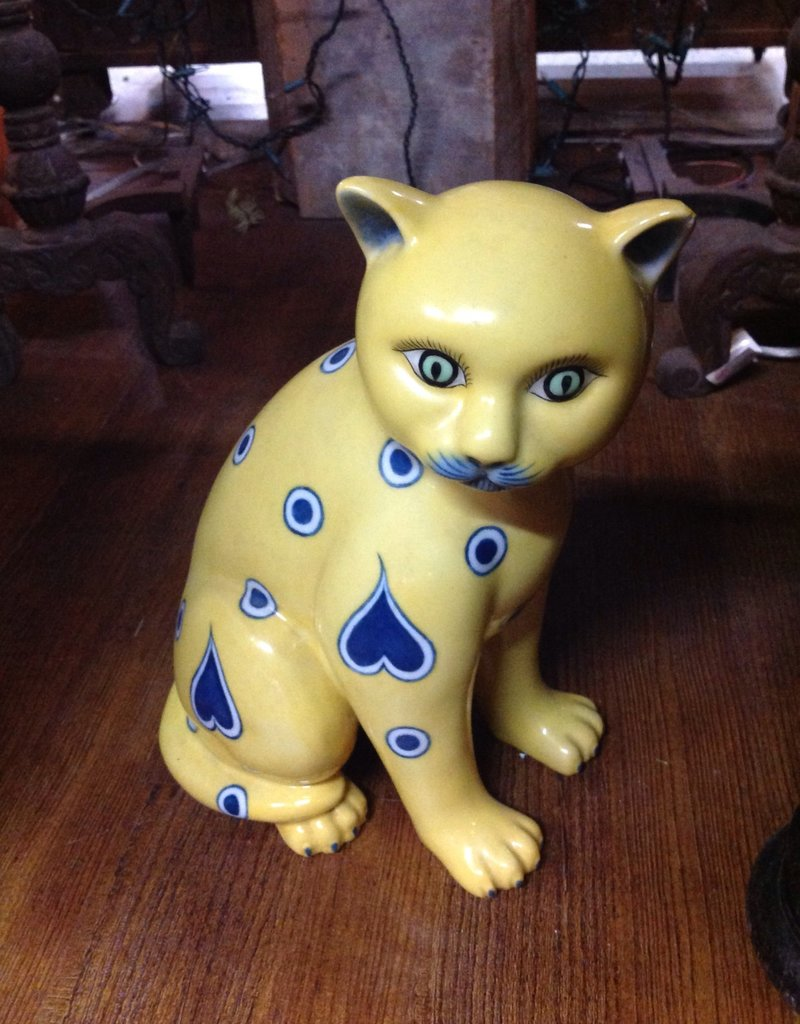 Cat, ceramic, yellow and blue