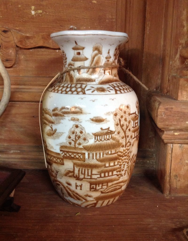 Vase, porcelain, Oriental, small, brown and white