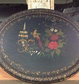 Tray, serving, black, painted, wood