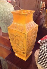 Vase, Oriental, burnt orange, square, ceramic, bird motif