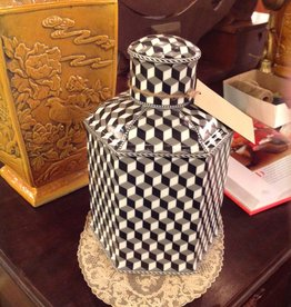 Jar, black and white checker design, with lid, ceramic, six sided
