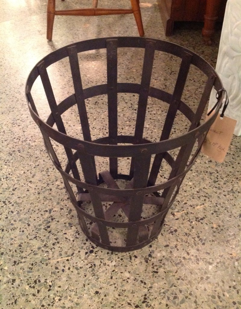 Basket, waste, black steel